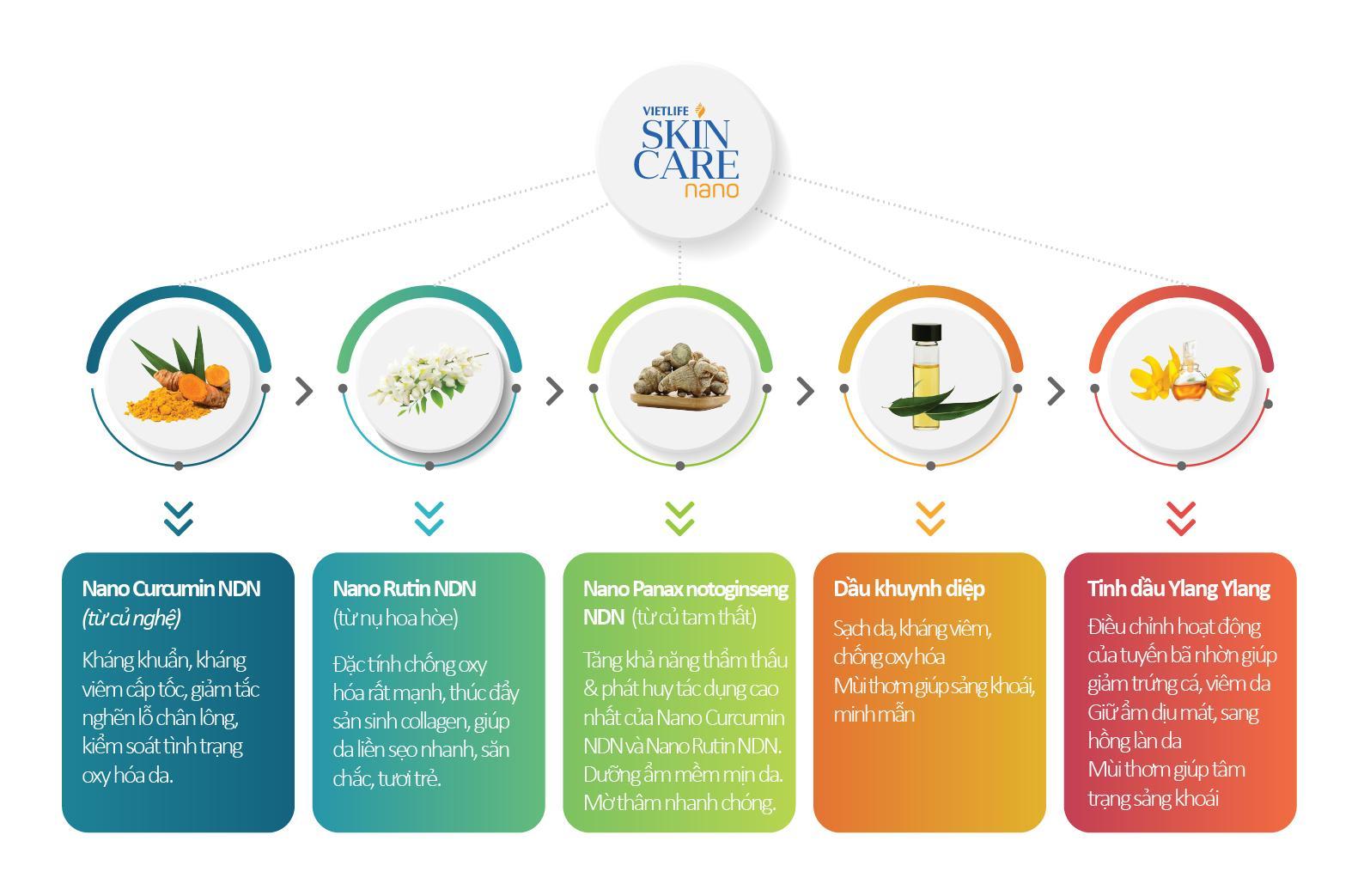 Thành phần Vietlife Skincare Nano & tác dụng chi tiết lên mụn, sẹo, thâm 1