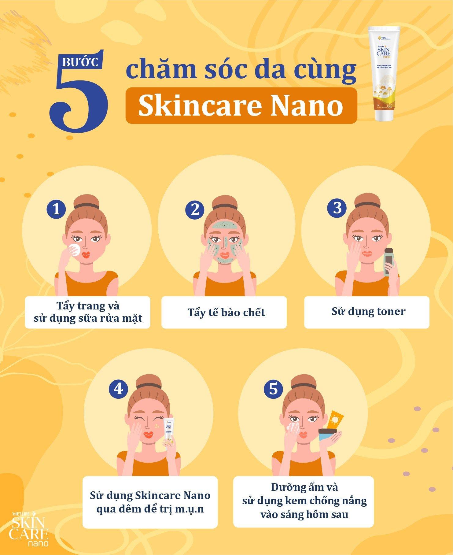 Routine các bước chăm sóc da với Skincare Nano để giúp da sáng mịn và sạch mụn 1